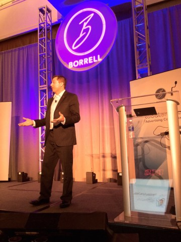 Joe DeMike, on stage at Borrell's LOAC2015