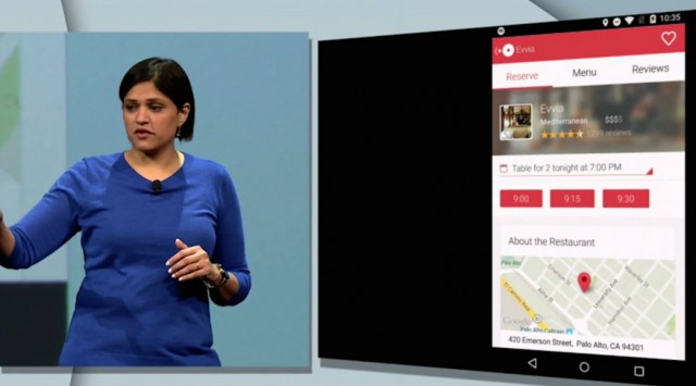 Google Now's Aparna Chennapragada shows the connection with OpenTable.