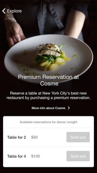"A ""Premium Reservation"" for 2 at NYC's Cosme will cost $50 on top of the final dining bill."