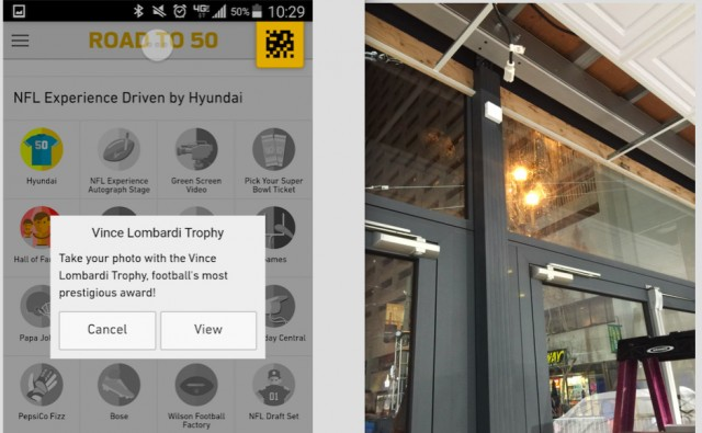 The Road To 50 app lets users check-in to SF locations, while Gimbal's beacons (on the left) trigger those place-based messages.