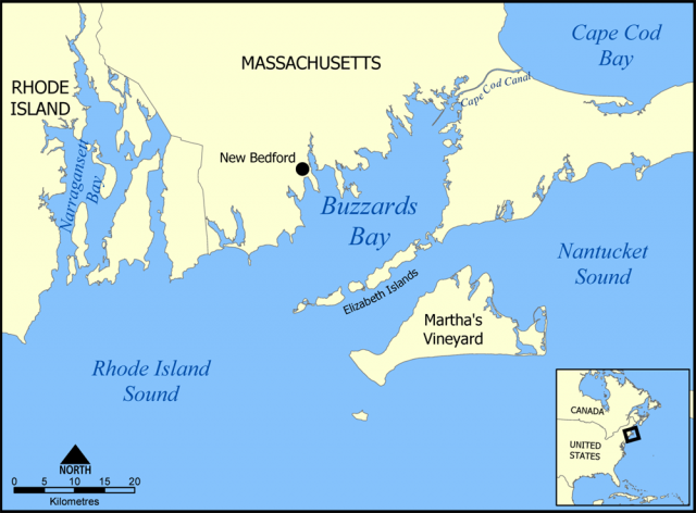 A map of Buzzard's Bay.