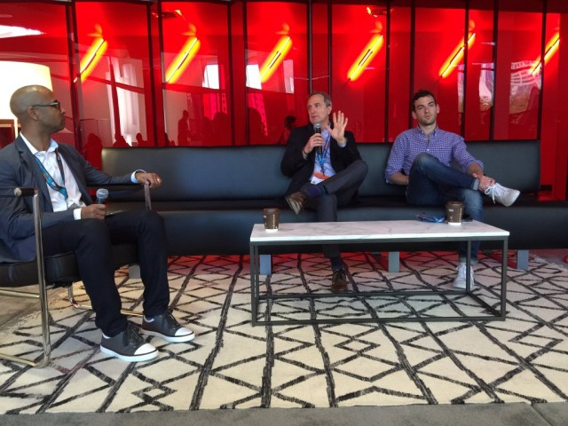 McDonald's DeLu Jackson with Sprinklr's Tom Butta and DDB's Alex Hesz.
