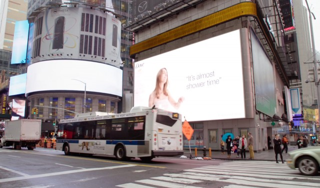 "Dove ads in NYC's Times Square were triggered to the weather, such as this message telling passersby ""its almost shower time"" to promote the brand's body wash."