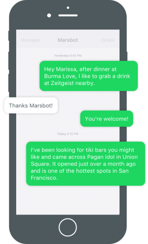 Foursquare's Marsbot in action