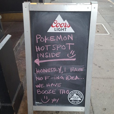 San Fran spors Bar The Polo Grounds is kind of indifferent to Pokemon Go. But it's a fine way to catch players' attention. - Photo Credit: Masha Geller.