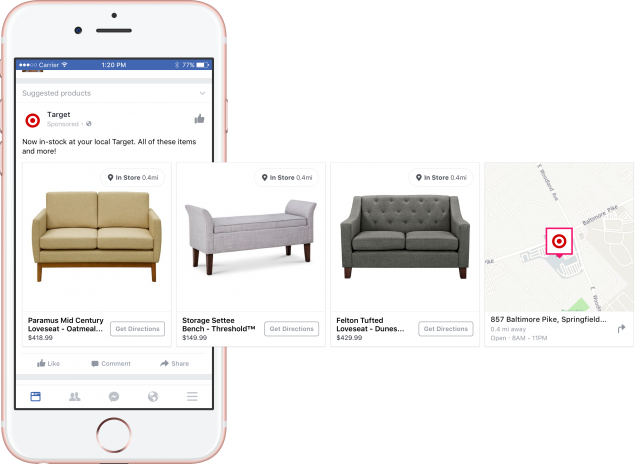 """Inventory ads """"geoTargeted"""" by Facebook."""