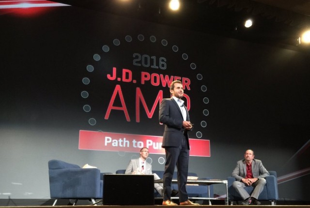 Toyota Motors USA's Ernesto Del Aguila on stage at JD Power's Automotive Marketing Roundtable.