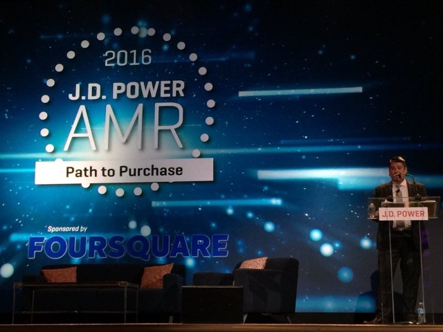 Beau Boeckmann, president and COO of Galpin Motors Inc., North Hills, CA., speaking at JD Power's Automotive Marketing Roundtable