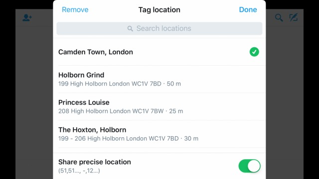 How an @Here location query looks on Twitter