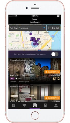 HotelTonight's GeoRates popup on the app's map to help users find the nearest deals.