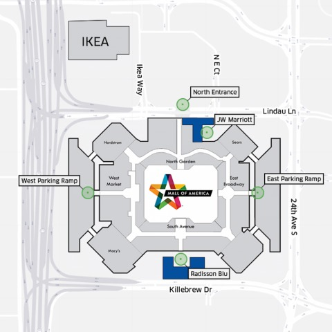 The Mall of America in an Uber map