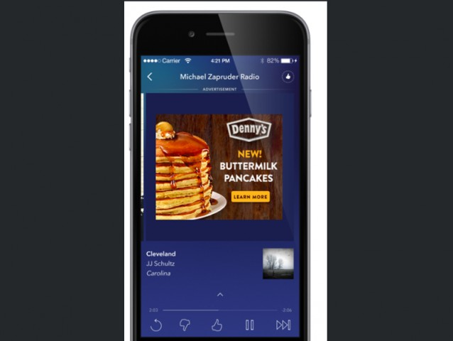 Denny's saw higher engagement for its pancakes after a test of Pandora's new mobile ad formats.