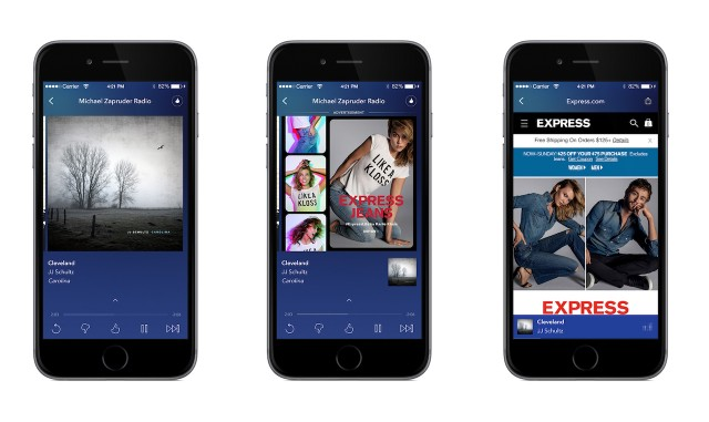 Pandora's responsive mobile display ads for Express