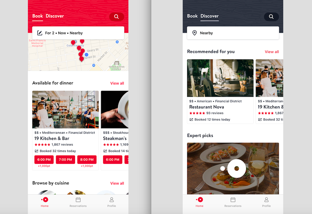 OpenTable App Redesign Emphasizes OnTheGo Consumers And SameDay - Open table dinner